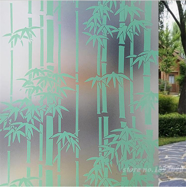 45200cm 17 778 8 home decor opaque privacy self adhesive glass window film pvc frosted window stickers bamboo pattern st030 in decorative films from