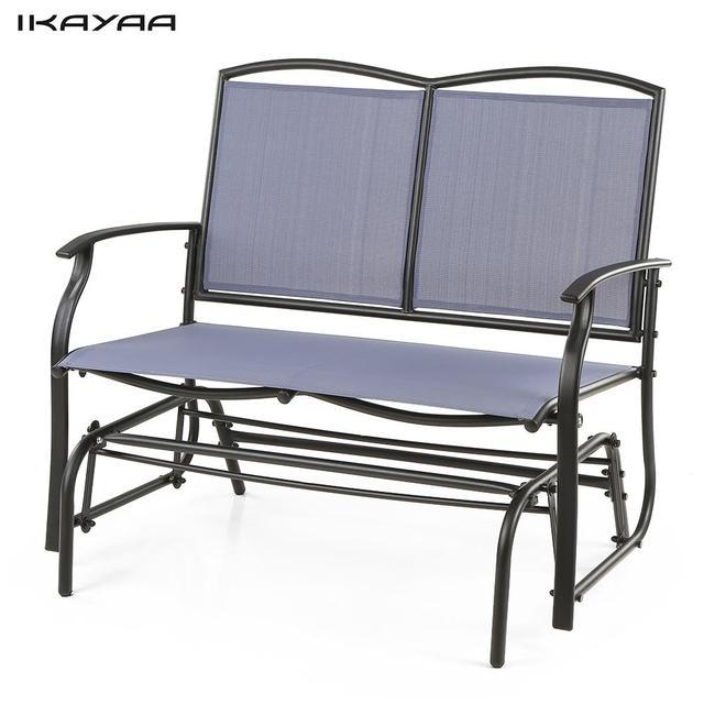 IKayaa 2 Person Patio Swing Glider Bench Chair Loveseat Textliene Garden  Outdoor Rocking Chair Seating Steel