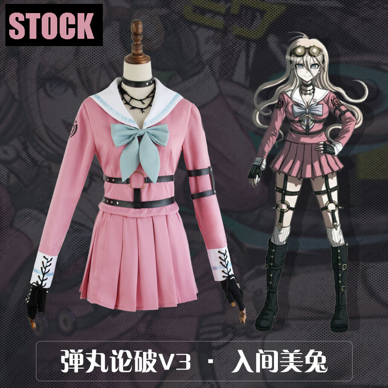 [STOCK]2017 New Anime Danganronpa V3 Iruma Miu JK Girls School Uniform Dress Cosplay costume Dress+Belts+Gloves+Socks S-XL