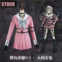 [STOCK]2017 New Anime Danganronpa V3 Iruma Miu JK Girls School Uniform Dress Cosplay costume Dress+Belts+Gloves+Socks S XL