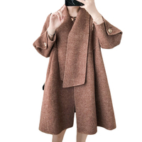 Double faced wool пальто Осенне зимняя Дамская обувь Свободные Длинные шерстяное пальто Женская мода корейский плащ Тип коричневый пальто A881
