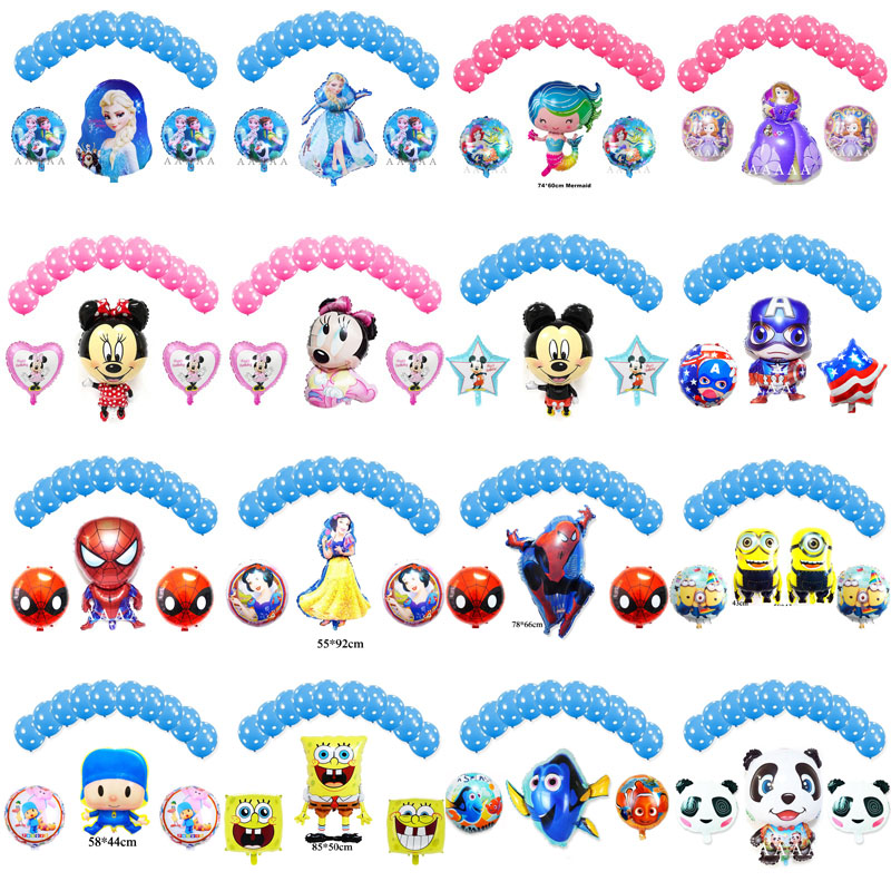 13pcs H birthday balloons set princess Elsa mermaid foil mickey minnie Captain America woody lightyear helium