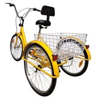 (Shipping From US) 24 Adult 3 Wheel Bicycle Bike Tricycle 6 Speed Basket Cruiser Beach Trike