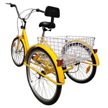 (Shipping From US) 24″ Adult 3 Wheel Bicycle Bike Tricycle 6 Speed Basket Cruiser Beach Trike