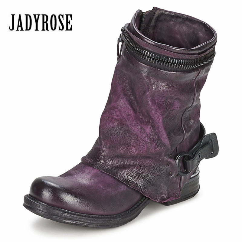 Jady Rose Purple Genuine Leather Women Vinatge Short Riding Boots Flat Shoes Woman Ankle Booties Platform Botas Militares jady rose genuine leather women knee high boots vinatge riding boots flat shoes woman platform botas militares straps long boot