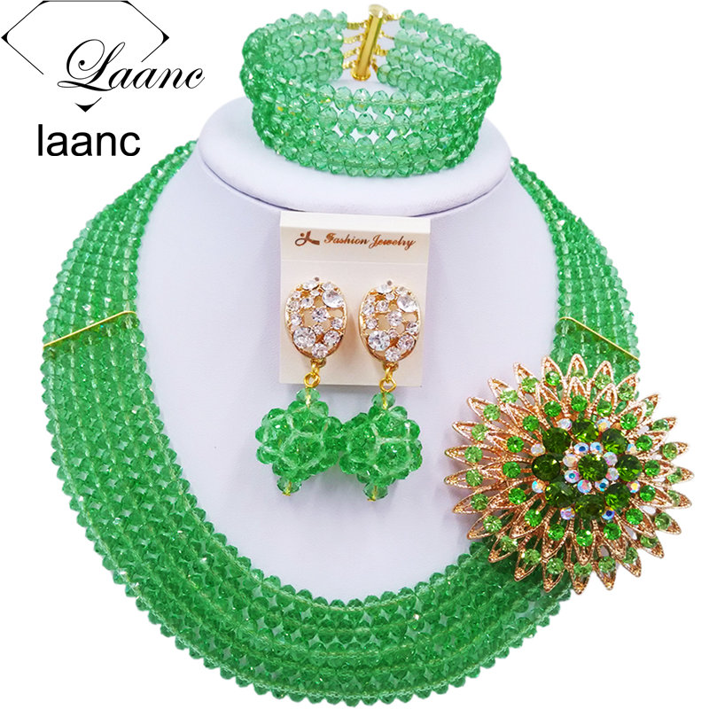 Laanc Handmade Light Green Crystal Beaded Necklace Nigerian Wedding African Beads Jewelry Set for Women 5DS023 ...
