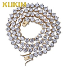 Xukim Jewelry 6mm Bling Iced Out Chain 3 Prong Tennis 1 Row 4mm Necklace Silver Gold Color Mens Fashion