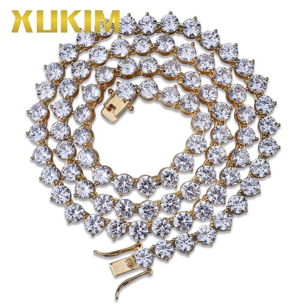 Xukim bijoux 6mm Bling glacé chaîne 3 broches chaîne de Tennis 1 rangée 4mm 6mm collier argent or couleur hommes mode bijoux chaîne