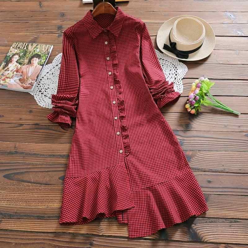 Женское платье 2019 корейские демисезонные клетчатые платья с оборками и длинными рукавами женские платья Mori Girl Vestido Verano Mujer KJ2068