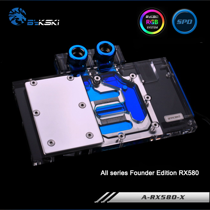 US $66 83 |Bykski A RX580 X, Full Cover Graphics Card Water Cooling Block  RGB/RBW for All series Founder Edition RX580-in Fans & Cooling from  Computer