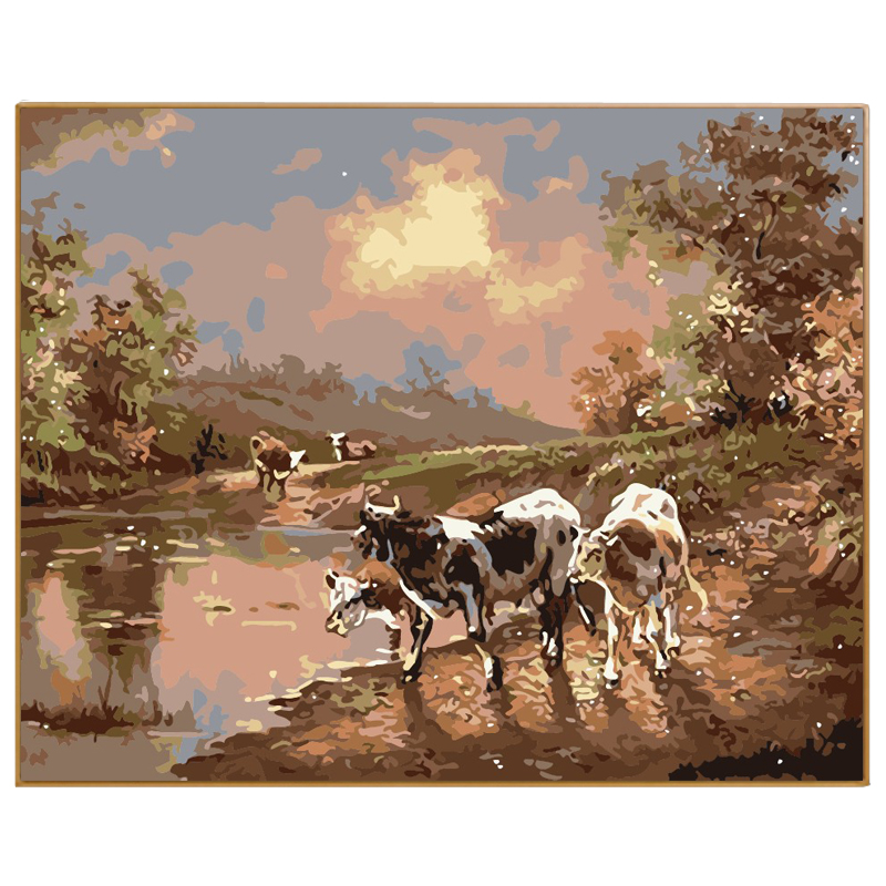 PHKV Hand Painted Abstract Free Coloring By Numbers Oil Painting By Numbers Drawing Nodular Animal Cows Picture Digital Coloring