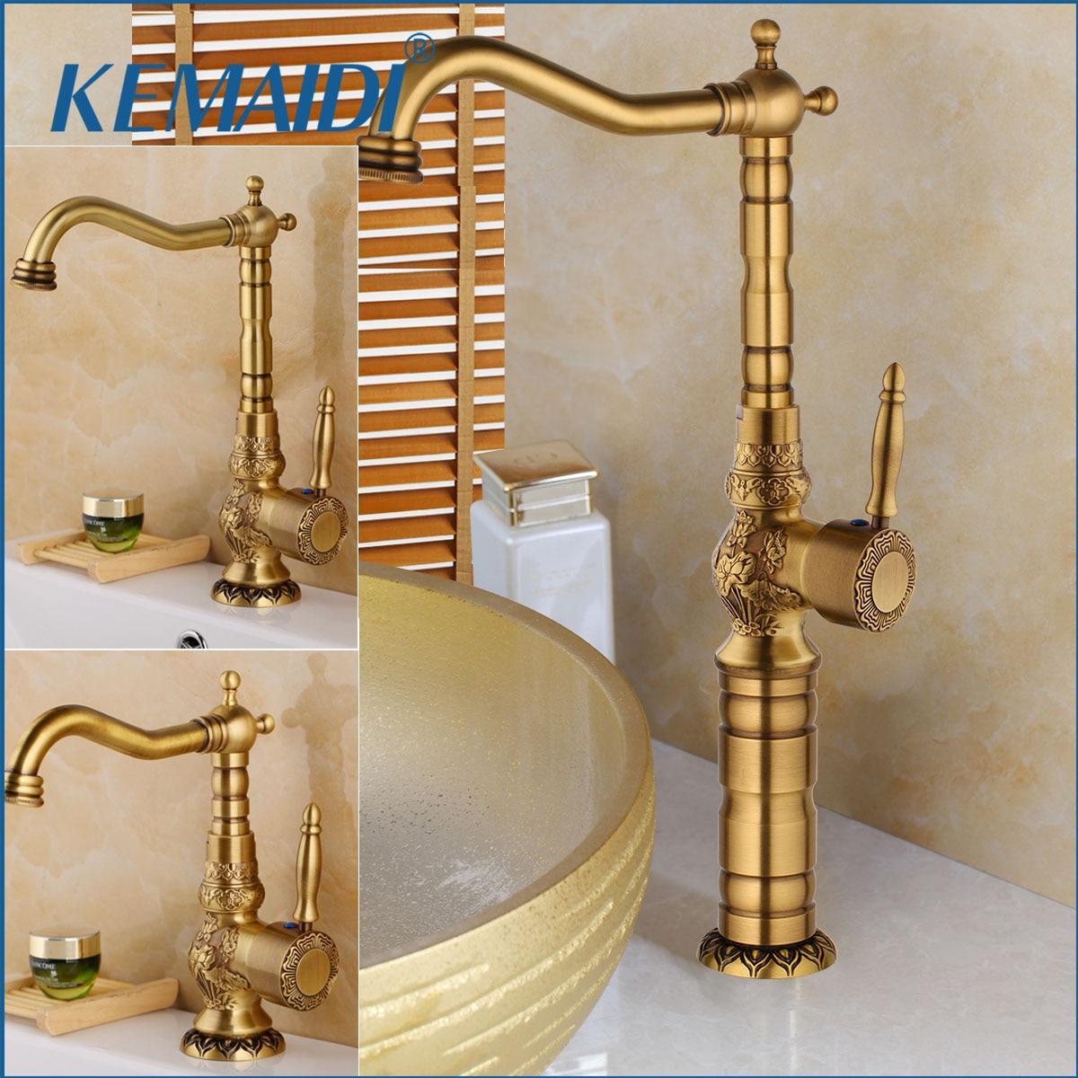 KEMAIDI 3 Size  Antique Brass Bathroom Basin Faucet Long Nose Spout Wash Sink Tap 360 Rotation Single Handle Mixer torneirasKEMAIDI 3 Size  Antique Brass Bathroom Basin Faucet Long Nose Spout Wash Sink Tap 360 Rotation Single Handle Mixer torneiras