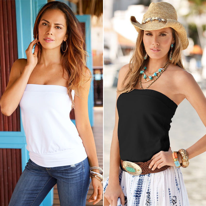 New Womens Sleeveless Ruched Boob Tube Ladies Plain Strapless Bandeau Top 8-14