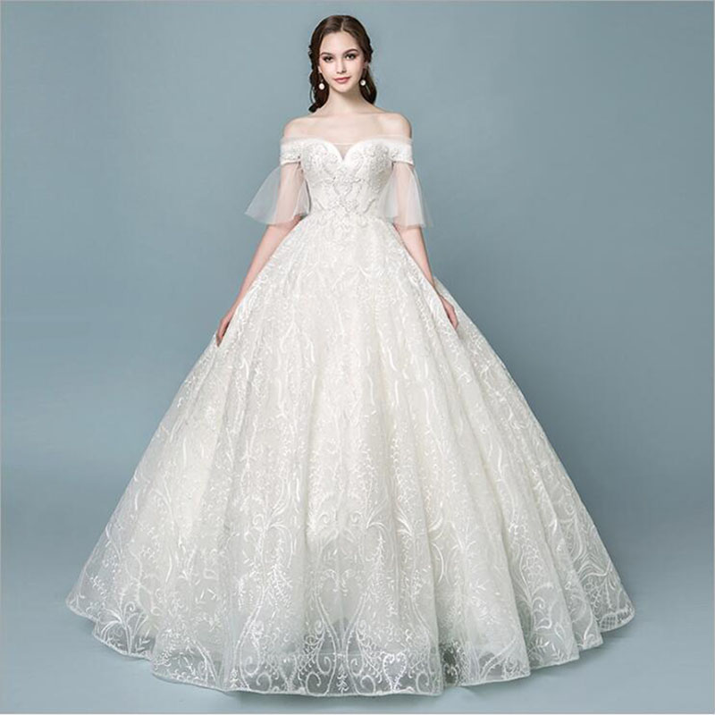 Short Sleeves Lace Beads Luxury Wedding Dresses For Bride Luxury
