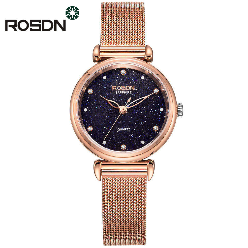 Shiny Starry Dames Polshorloge ROSDN Luxe Horloges Rose Gold - Dameshorloges