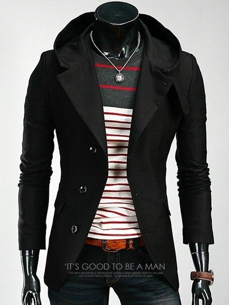 2016 Новый мужской моды лацкане однобортный с капюшоном костюм куртка мужская марка Slim Fit Fit Британские Повседневная костюм куртки пальто
