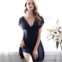 Shirt sleep v neck nightgowns Sleepwear nightdress Women's sexy sleepwear sexy women's nightgown women sleep wear sets AD396