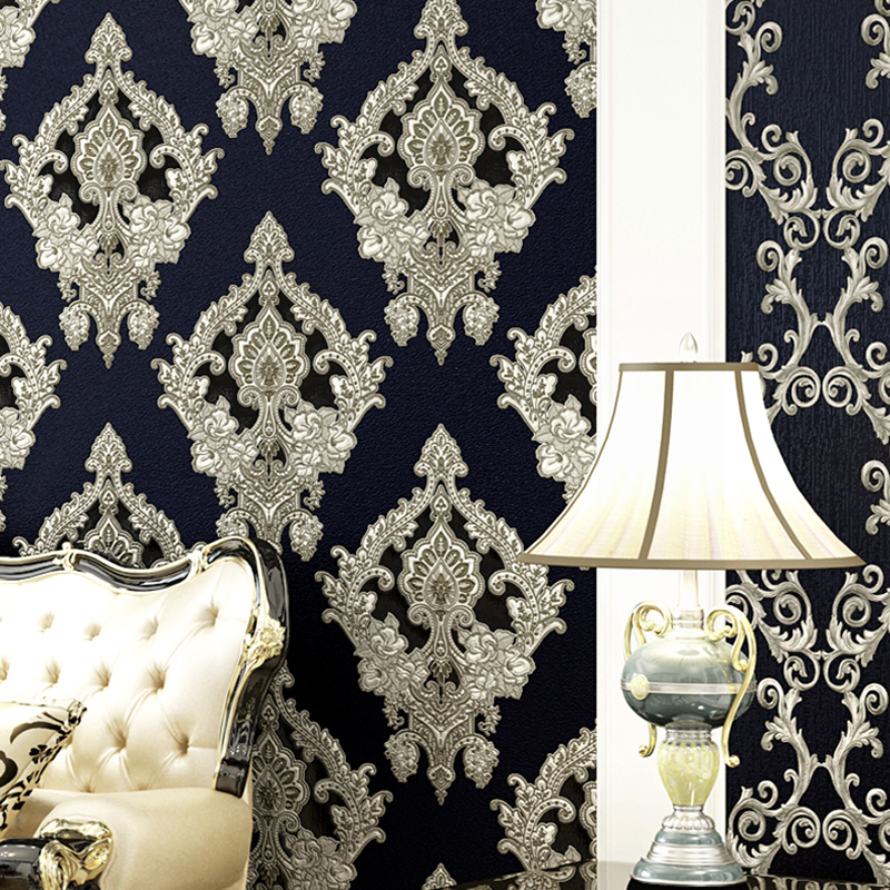 European Style Damascus Wallpaper 3D Stereo Embossed Flowers PVC Wall Paper Living Room Bedroom Luxury Home Decor Wall Covering