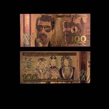 Cor dos produtos da faixa da rainha rússia notas de ouro 100 notas de ruble em ouro 24k dinheiro de papel falso para o presente