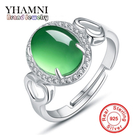 GALAXY Brand 100 925 Sterling Silver Wedding Rings For Women Luxury Natural Emerald Jade Adjustable Ring