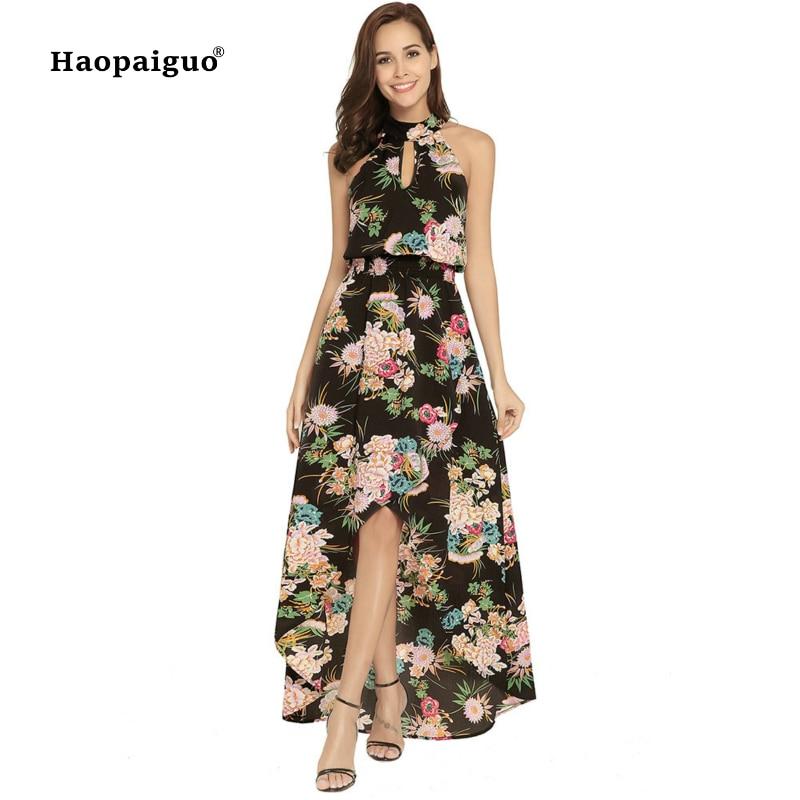 Plus Size Print Boho Dress Summer 2018 Halter Sleeveless Beach Dress Women Backless Bohemian Sexy Dress Women Vestiti Donna