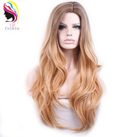 Feibin Synthetic Blonde Wig For Women Ombre Colour Nature Wave Hair High Temperature Feiber 24 inches 60cm WG115