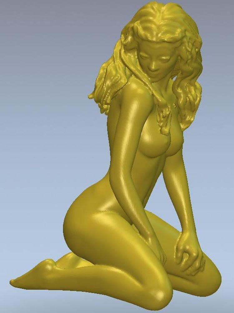 3d Model Relief  For Cnc Or 3D Printers In STL File Format Girl On Her Knees