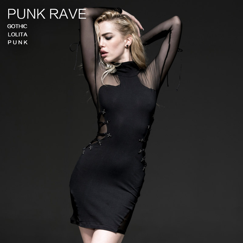Punk Rave mode femmes robe Sexy Rock noir Kera fête rue mode robe banagée Q230