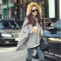 Free Shipping Korean Style Casual Womens Cape Batwing Sleeved Wool Poncho Jacket Lady Winter Warm Cloak Coat 18
