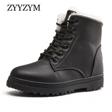 ZYYZYM Boots Women Fashion Warm Snow Ankle For Winter Cotton Shoes Lace-Up plus size 34-44