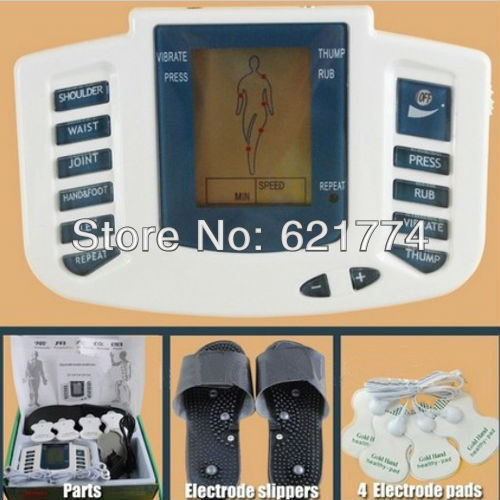 Hot Electrical Stimulator Full Body Relax Muscle Therapy Massager Pulse Tens Acupuncture with Therapy Slipper