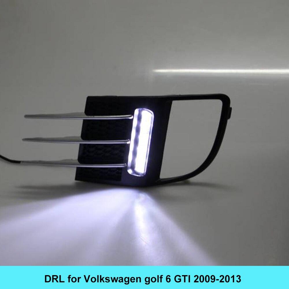 Автомобиль DRL комплект для Фольксваген Гольф 6 GTI 2009-2013 светодиодные дневные ходовые свет бар супер яркий противотуманные авто лампы дневного света VW автомобиля Сид DRL