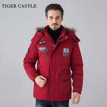 TIGER CASTLE Men Winter Thick White Duck Down Jacket Windproof Leisure Male Windcheater Comfort Men Quality Varsity Jacket(China)