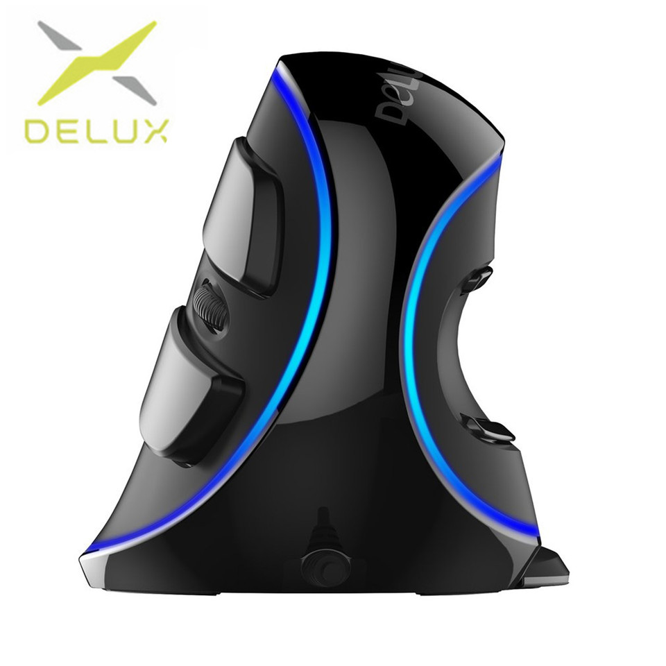 Delux M618 PLUS USB Wired Vertical Mouse Optical Blue Light Ergonomic Design Portable Vertical Optical Mouse For PC Computer цена
