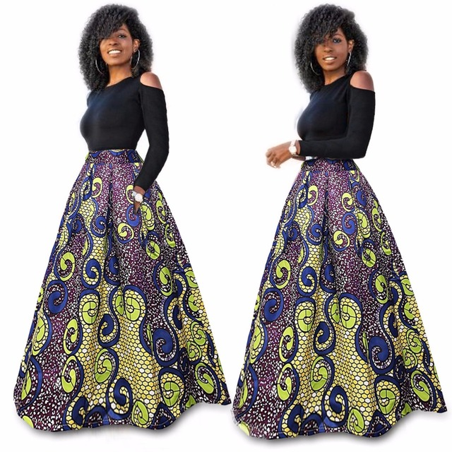 ef116948e23 Traditional African Clothing Women Short Sleeve Red Rose Print Two Piece  sets Sexy Long African Dresses Plus Size Maxi Dresses