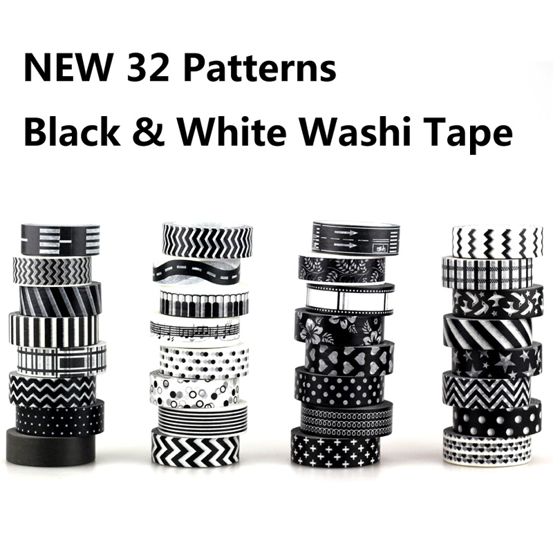 NEW! 8X 15mm Adehive Tape Black White Set Print Scrapbooking DIY Craft Sticky Deco Masking Japanese Washi Tape Paper Lot 10m