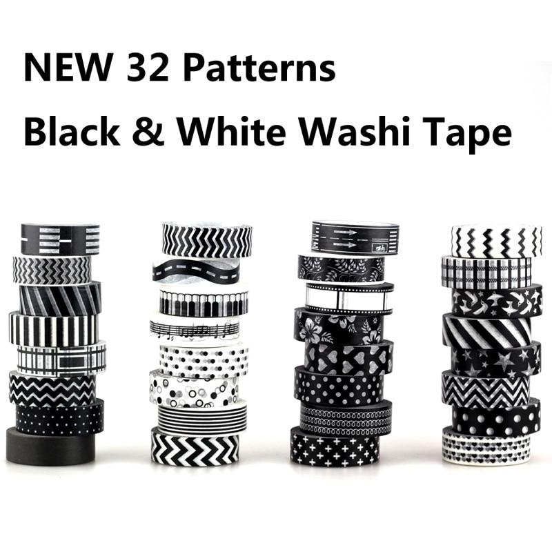 NEW! 8X 15mm Adehive Tape Black White Set Print Scrapbooking DIY Craft Sticky Deco Masking Japanese Washi Tape Paper Lot 10m