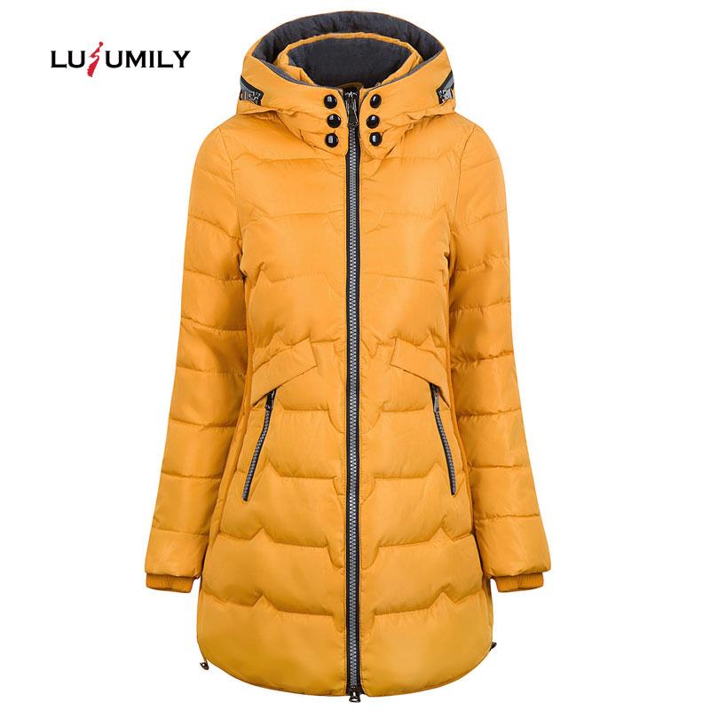 Lusumily 2019 Winter Jacket Women Hooded Warm Plus Size 6xl 7xl Cotton Coat Padded Female Slim