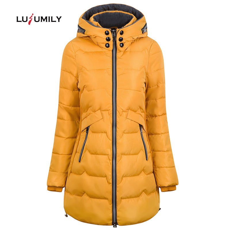Lusumily 2019 Winter Jacket Women Hooded Warm Plus Size 6xl 7xl Cotton Coat Padded Female Slim Long Jacket Women   Parka   Outwear