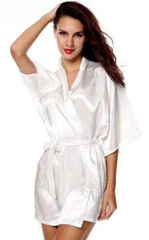 RB034 2016 New Satin Bridesmaid Robes,White Faux Silk Wedding ...