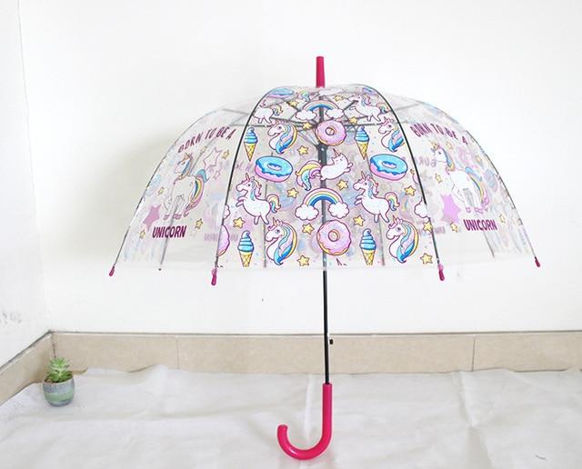 Детский зонт с единорогом, милые Прозрачные Зонтики, полуавтоматический детский зонт с изображением пингвина, клетка для птиц, Прямая доставка
