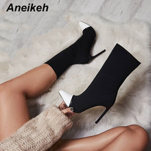 hot deal buy aneikeh women elastic socks ankle boots with slip-on thin heels women short boots fashion sexy pointed toe autumn chelsea boots