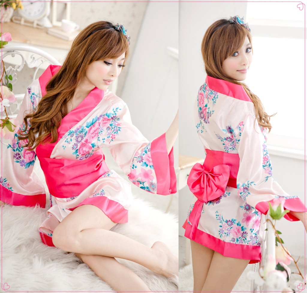 Sexy Lingerie Kimono Set Flowers Robe Cosplay Role Play Clothes Sexy Costumes Exotic Lingerie Underwear for Women
