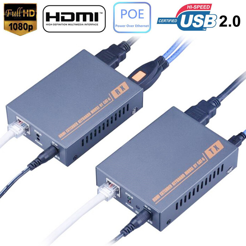 60m ~ 100m USB HDMI KVM Extender POE With No Loss No Delay EDID USB KVM HDMI Extender RJ45 HDMI USB KVM Extender Over Cat5e Cat6 wireless hdmi 2 0 hdbt kvm extender ethernet transmitter receiver 100m over cat6 support 4k 2k 3d poe hdcp 2 2 rs232 hd baset