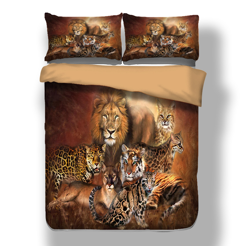 Lion Horse Tiger pattern reactive printing Duvet Cover set with Pillow Cases birthday present Holiday gift bedding set new 3pcsLion Horse Tiger pattern reactive printing Duvet Cover set with Pillow Cases birthday present Holiday gift bedding set new 3pcs