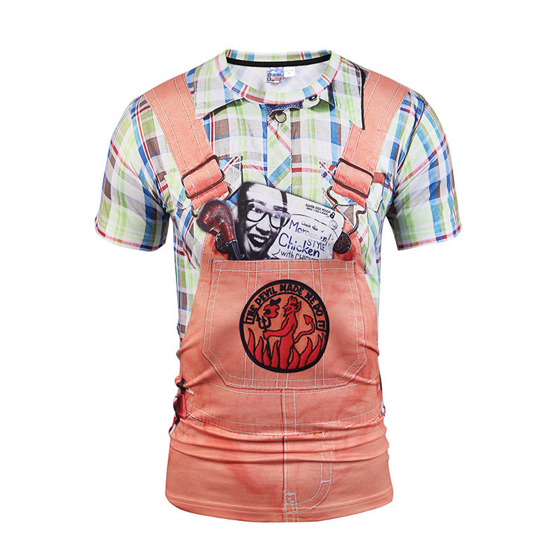 2018 3d T-shirt Men/women Summer Tops Tees Print Fake Plaid Shirts Jeans T shirt Stylish Funny Tees