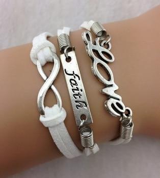 3 pcs amour, Foi et Infinity Charm Bracelet , argent antique, Coréen  cachemire Charm