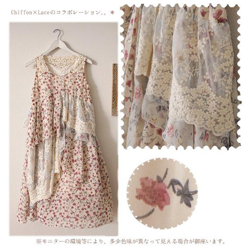 2017 japonés Mori Girl Original simple Retro Floral bordado mujeres vestido asimétrico verano suelto encaje vestido sin mangas V284-in Vestidos from Ropa de mujer    3