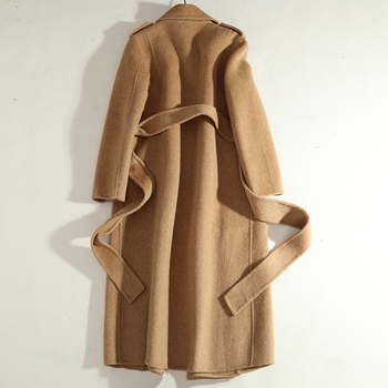 Women Long Double Breasted Cashmere Coat 1