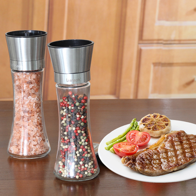 Premium 18/8 Brushed Stainless Steel Pepper Mill and Salt Mill